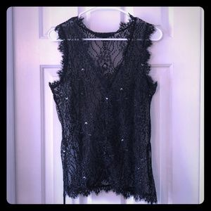 Express sheer lace vest with metallic detail